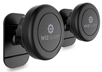 Magnetic Mount, Wiz Gear Universal Stick On (2 Pack) Dashboard Magnetic Car Mount Holder, For Cell Phones And Mini Tablets With Fast Swift Snap Technology, Magnetic Cell Phone Mount by Wiz Gear