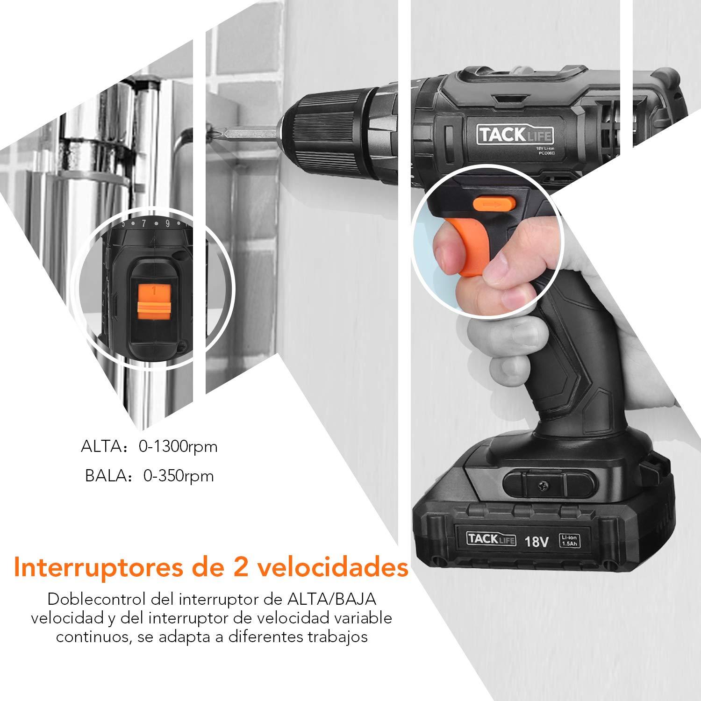 Taladro Percutor a Bateria 18V TACKLIFE PCD06C, Taladro Inalámbrico de 2 Velocidades, 10 mm Portabrocas, 30 N.m Par Máximo, 19 + 1 Ajustes del Eje, Luz LED, ...
