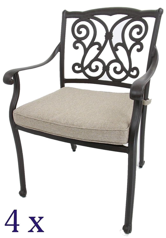 Gartenstühle, Aluguss (4er-Set)