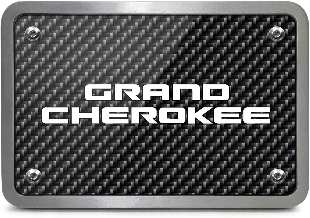 iPick Image Jeep Grand Cherokee UV Graphic Carbon Fiber Texture Billet Aluminum 2 inch Tow Hitch Cover for SUV and Truck Made in USA