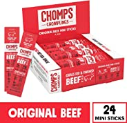 CHOMPS MINI Grass Fed Beef Jerky Meat Snack Sticks, Keto, Paleo, Whole30 Approved, Low Carb, High Protein, Gluten Free, Sugar