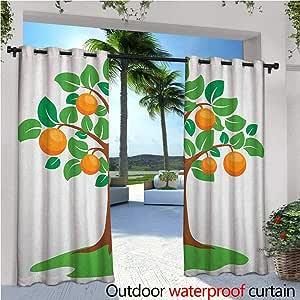Cortinas de patio verde y naranja, caricatura de frutas, para sostener las manos en una colina de hierba, cortina de invierno para exteriores, para patio, exteriores, color naranja manzana verde: Amazon.es: Jardín