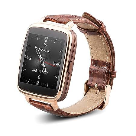 Oukitel A28 - Smartwatch Reloj (IP53 Impermeable, Bluetooth V4.0, Ritmo Cardíaco, Anti-pérdida, Podómetro) Compatible con Móvil Android iOS (Dorado)