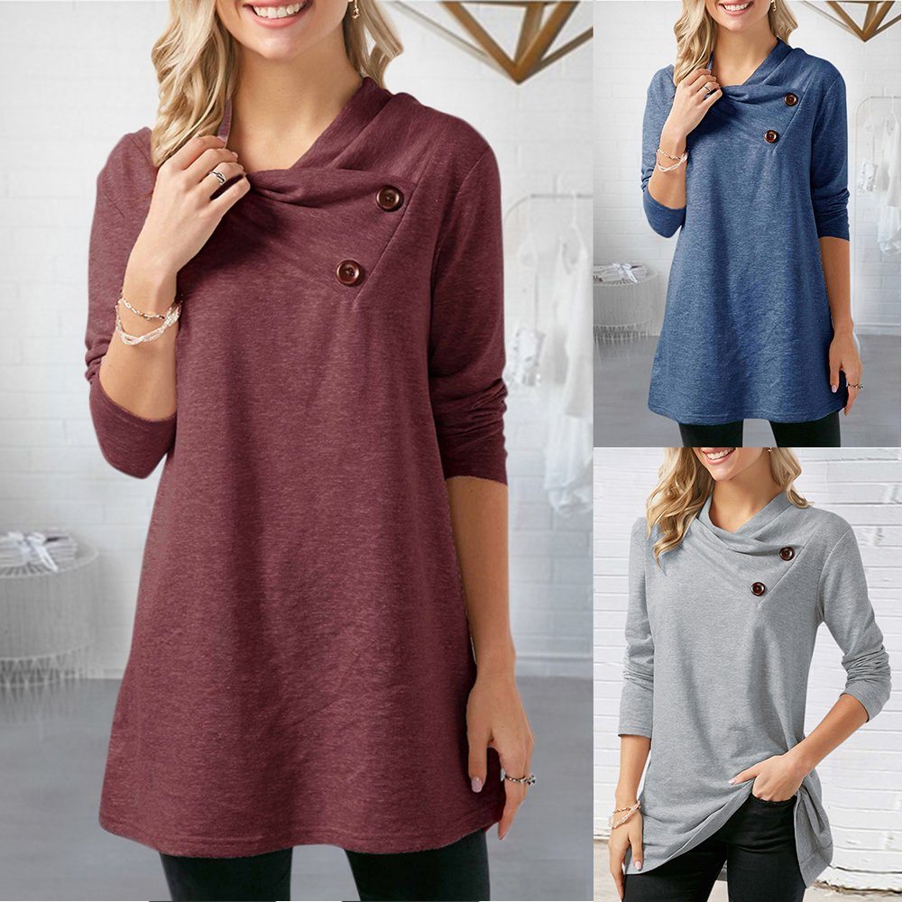 Poplover Womens Long Sleeve Cowl Neck Tunic Loose Fit Tops Button Wine Red Large
