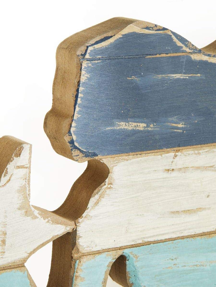 MONTEMAGGI Attaccapanni Mare con Sirena in Legno 3 Pomelli 50x28x6 cm Variante Unica