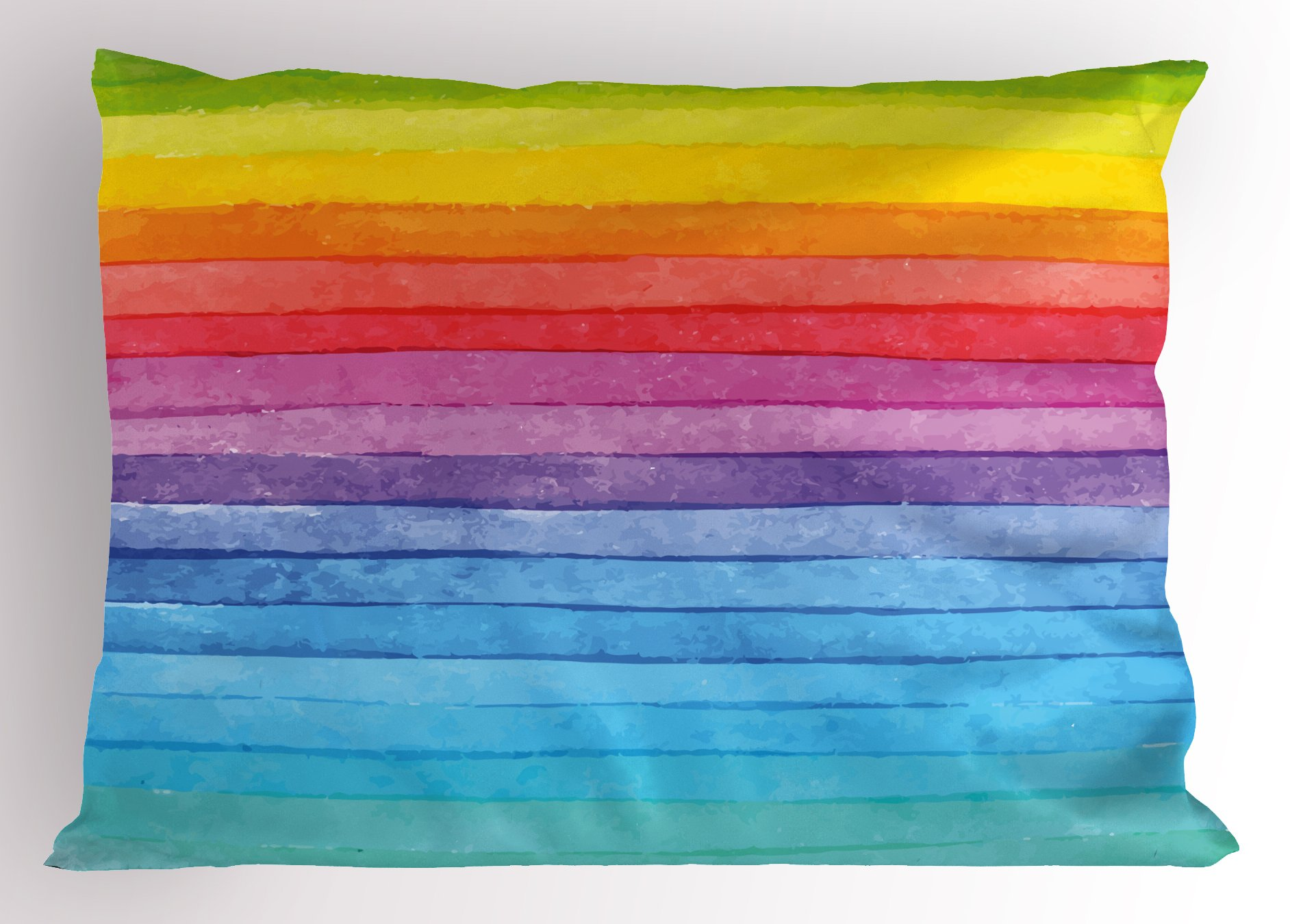 Ambesonne Abstract Decor Pillow Sham by, Rainbow Colored Horizontal Striped Lines Bright Hand Drawn Artistic Cute Design, Decorative Standard Size Printed Pillowcase, 26 X 20 Inches, Multi