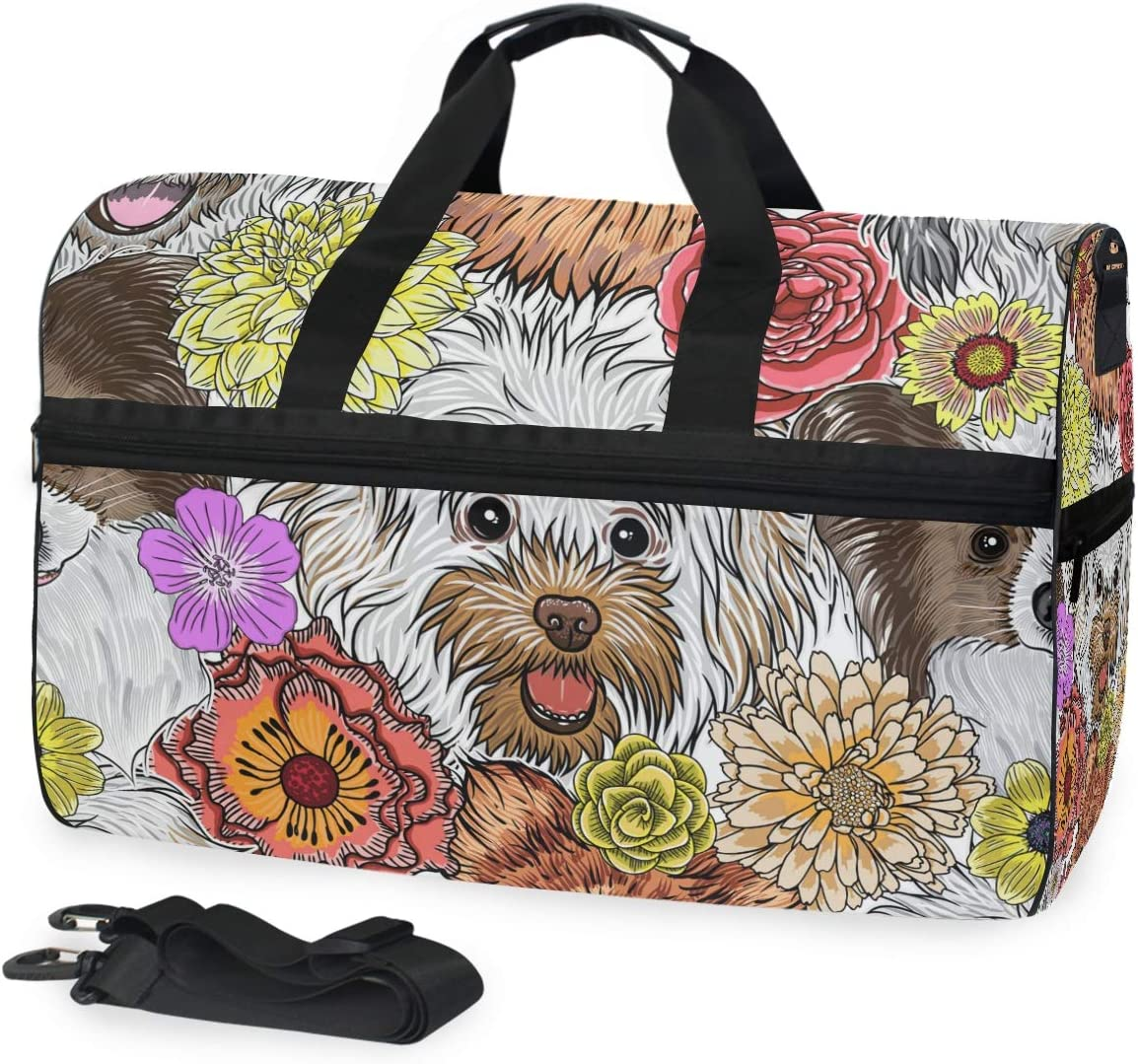 Cute Dogs Sports Gym Bag with Shoes Compartment Travel Duffel Bag for Men and Women