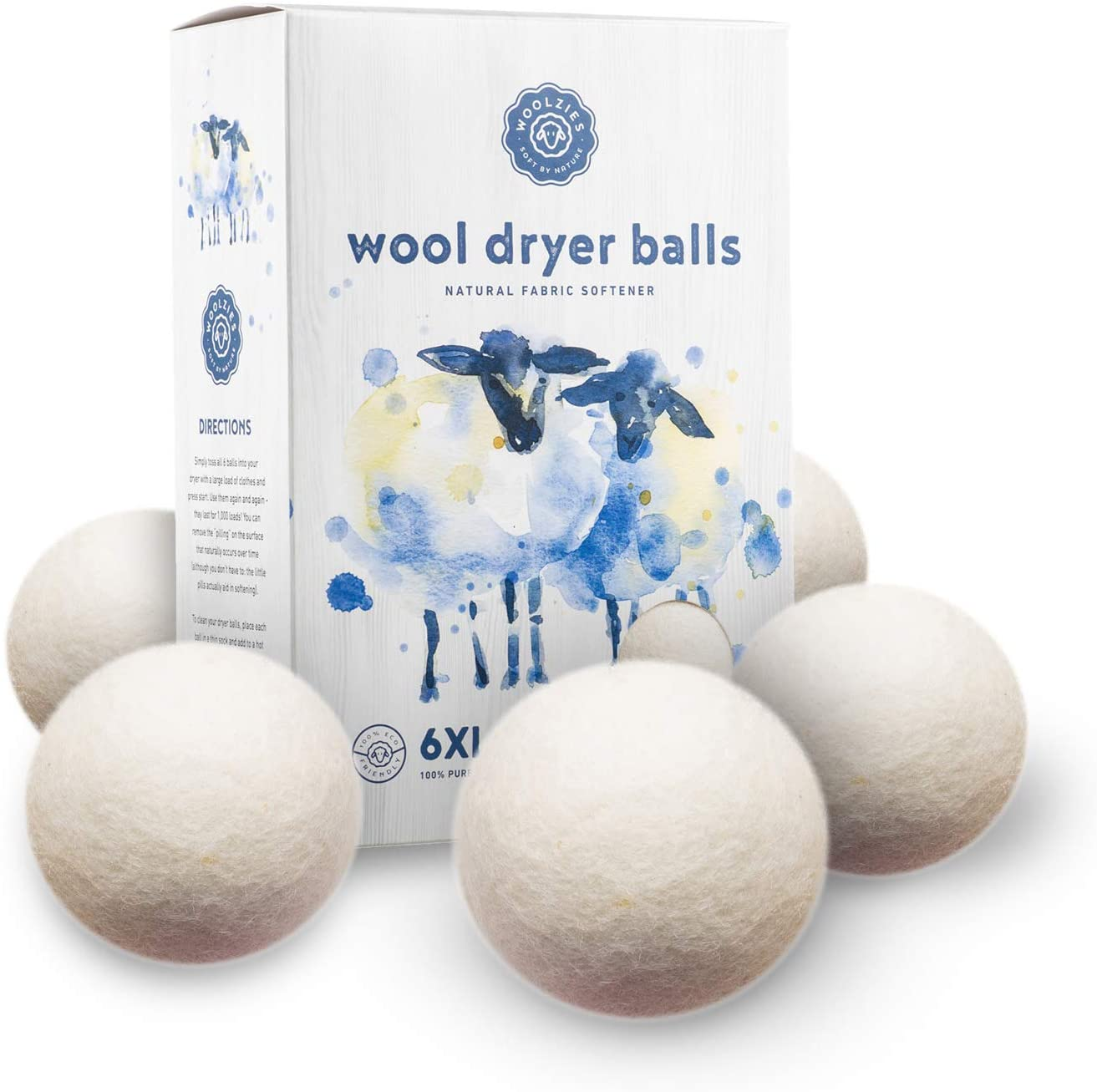 Woolzies Wool Dryer Balls Organic: Our Big Wool Spheres are the Best fabric softener | 6-Pack XL Dryer Balls for Laundry is Made with New Zealand Wool | Use Laundry Balls for Dryer with Essential Oils