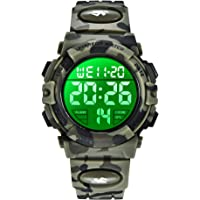 Kid's Watch,Army Green Camouflage Boys Sports Watch LED Digital Military Outdoor Multifunction LED 50M Waterproof Alarm…