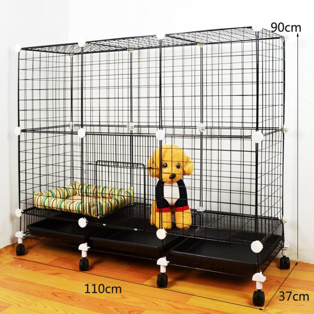 折り畳み式の金属製犬クレート,小型犬猫ケージ ウサギのケージを二層 スリーピース ペット フェンス ホイールとトレイの鉄ケージ ステンレス犬ケージ箱-L B07CVV3XM7 23193 L L