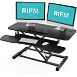RIF6 Adjustable Height Standing Desk Converter - 37.2 Inch Wide Laptop Riser or Dual Monitor Workstation - Easily Sit or Stan