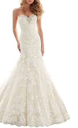 Baixia Crystal Mermaid Lace Wedding Dress Trumpet Bride Gown At