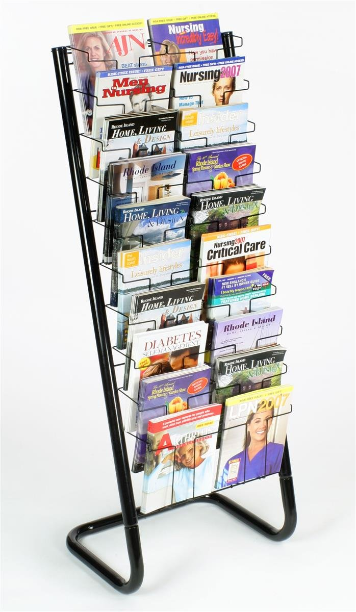 Displays2go 57-Inch Floor-Standing Wire Magazine Rack, 20 Pockets, Tiered Design - Black (WFM1020A) by Displays2go