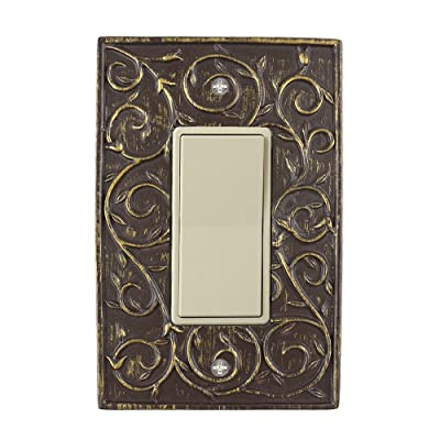 Meriville French Scroll 1 Rocker Wallplate, Single Switch Electrical Cover Plate, Bronze: Home Improvement