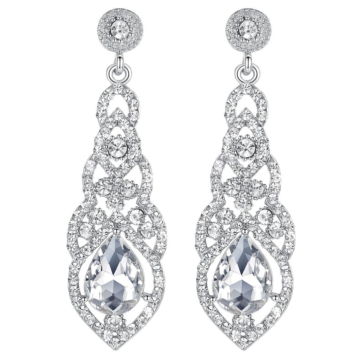 Mecresh clair/doré/champagne/bleu cristal Design unique Fleur Boucles d'oreilles en forme de larme pour Bridemaid ou de mariage eh444-clear