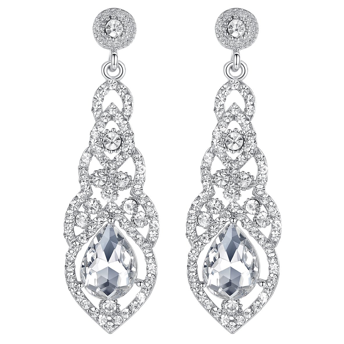 mecresh Clear Crystal Unique Design Teardrop Dangle Earrings for Bridemaid or Wedding