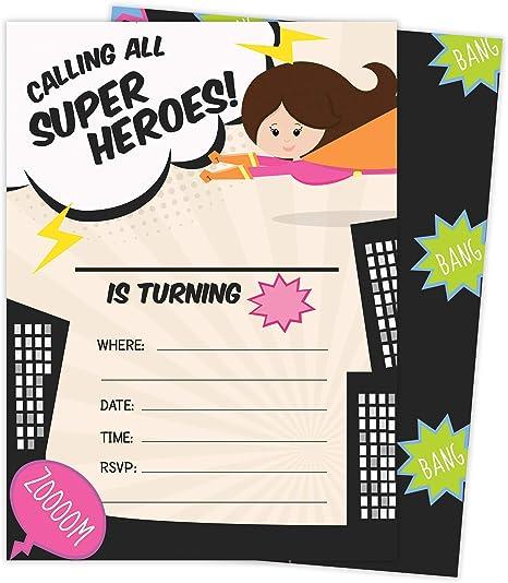 Amazon.com: Superhero Girl 1 tarjeta de invitación de ...