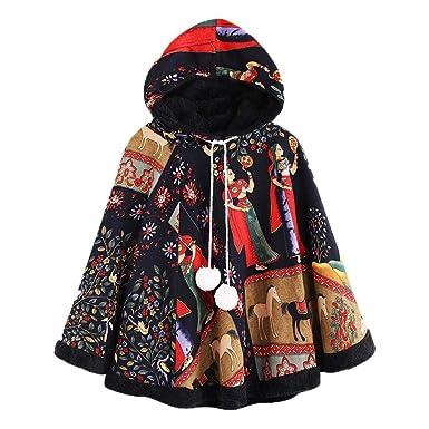 Luckycat Mujer Poncho Elegante Otoño Invierno Abrigados Vintage Capas Manto Modernas Casual Anchas Batwing con Botón Fiesta Chal Niña Moda Juveniles Negros ...