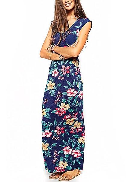 HanLuckyStars 2016 Nuevo Vestido de Paño Impresión Floral Cómodo Elegante Moda , Vestido de Casual Verano