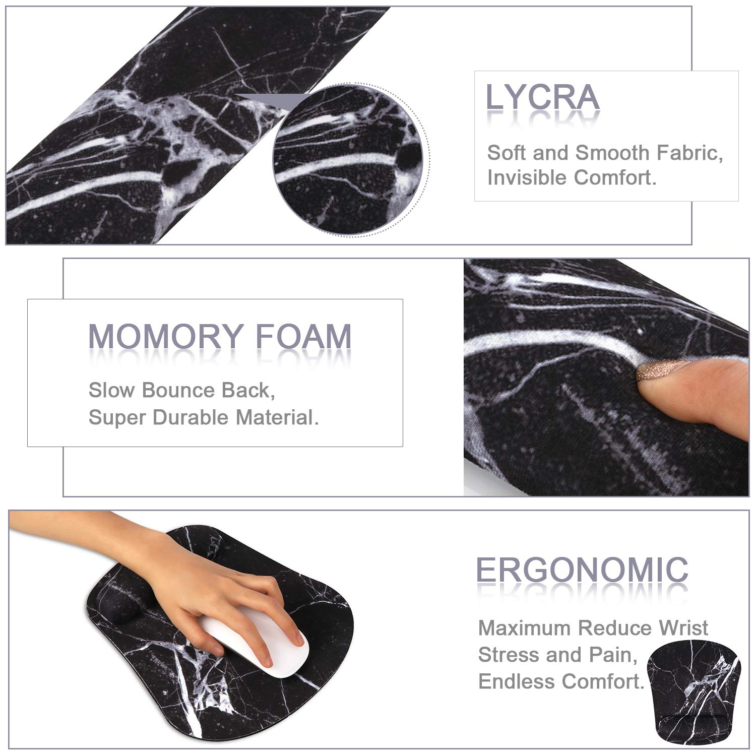 Artiron Keyboard Wrist Rest and Ergonomic Mouse Pad with Wrist Support Memory Foam Filled Non Slip Base Easy Typing and Relieve Wrist Pain for Computer Office Laptop Black Marble Gradient