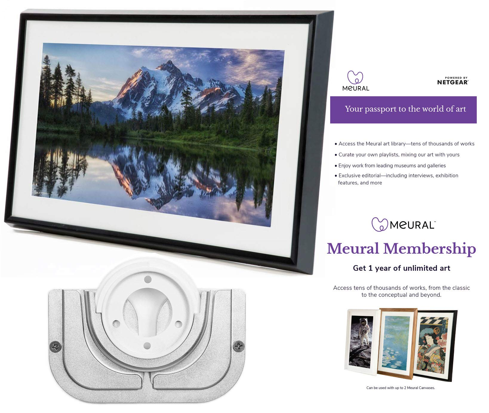 Meural Canvas - Smart Digital Photo Frame - Art Display | Leonora Black | Swivel Wall Mount | 27 inch HD Display with WiFi | Smart Home Compatible | Includes One-Year Membership to Art Library by Meural (Image #1)