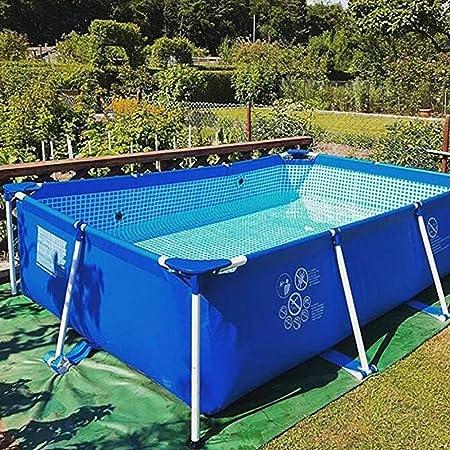 Mopoq Adulto Familia piscina grande rectangular de soporte de PVC piscina infantil jardín al aire libre Piscina for niños piscinas infantiles de seguridad resistente Ajuste estanque de pesca, Blue-Sma: Amazon.es: Hogar