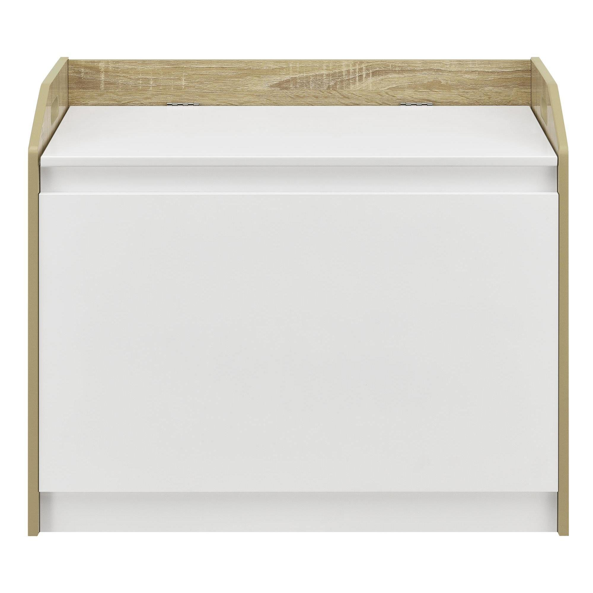 Durable Lowery Hamper in White and Light Brown Finish