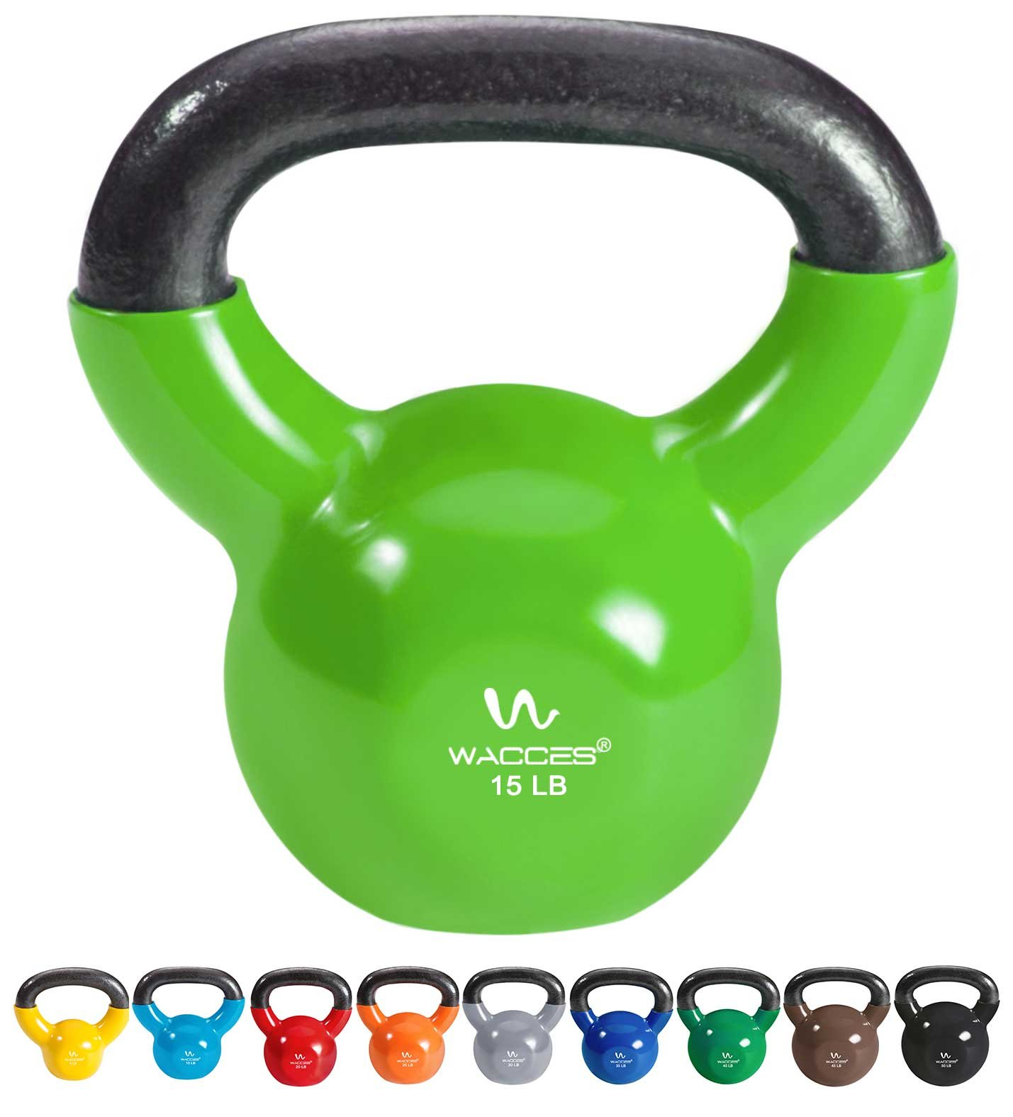 Wacces Single Vinyl Dipped Kettlebell for Croos Training, Home Exercise, Workout 15LB