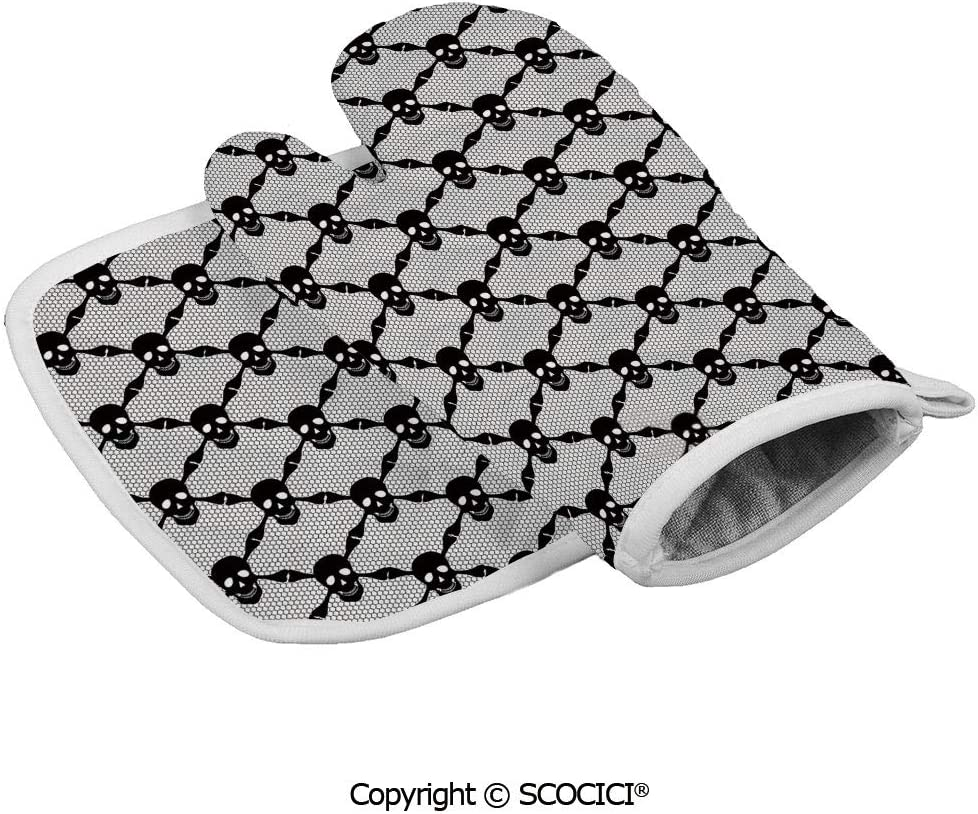 SCOCICI Oven Mitts,Professional Heat Resistant Halloween Horror Theme Spooky Black Skulls Checkered Pattern with Non-Slip Kitchen Oven Glove for Cooking,Baking,Barbecue Potholders