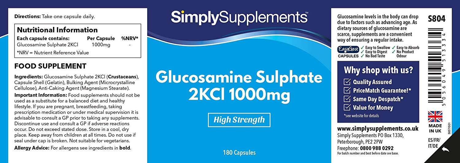 Amazon.com: SimplySupplements Sulfato de Glucosamina 1000 mg ...
