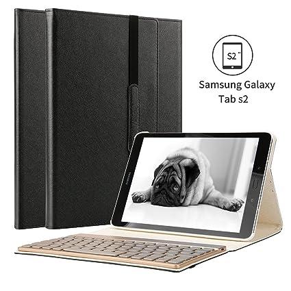 Samsung Galaxy Tab s2 9.7 funda, KVAGO 7 colores de luz de fondo desmontable caja del teclado ...