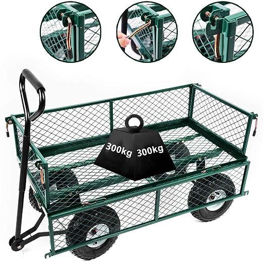 Gyj&gyt Carro de jardín Grande, Carro Plegable de Acero Resistente, Remolque de Bicicleta de 300 kg de Capacidad, Cuatro Ruedas para Transporte: Amazon.es: Hogar