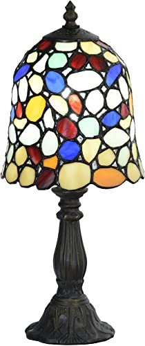 Bieye L10729 Tiffany Style Cobblestone Shape Stained Glass Table Lamp with 6-inch Wide Lampshade, Multi-Colored, 15 inch Tall