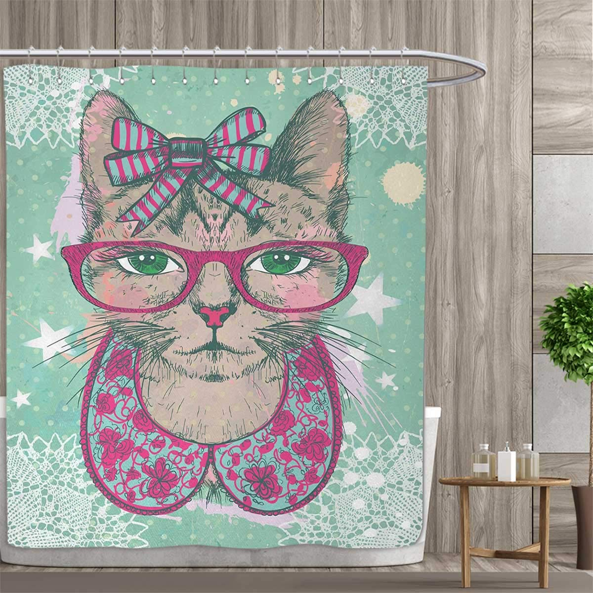 Hipster Shower Curtain Cat with Retro Glasses Print for Bathroom