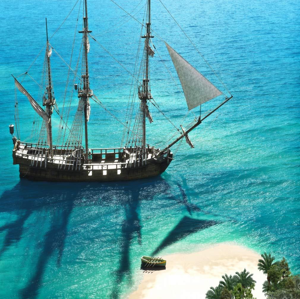 10 x 10フィート 海賊 海 写真 背景 パーティー アドベンチャー 船 アズール ビーチ アイランド 風景 写真 スタジオ 背景   B07MZ4LPH1