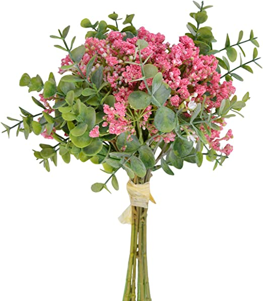 Amazon Com Artificial Pink Baby S Breath Flowers Bouquet Fake Plant Eucalyptus Leaves Real Touch Gypsophila Flower Arrangment For Wedding Party Decorations Home Dinning Living Room Centerpiece Table Decor Home Kitchen