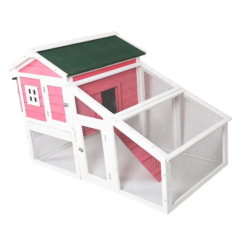 KARMAS PRODUCT Pet Cage Cat House Rabbit Hutch Chicken Coop Large Space Indoor/Outdoor Mesh Wire and Wooden Pink Lovely Small Animals House