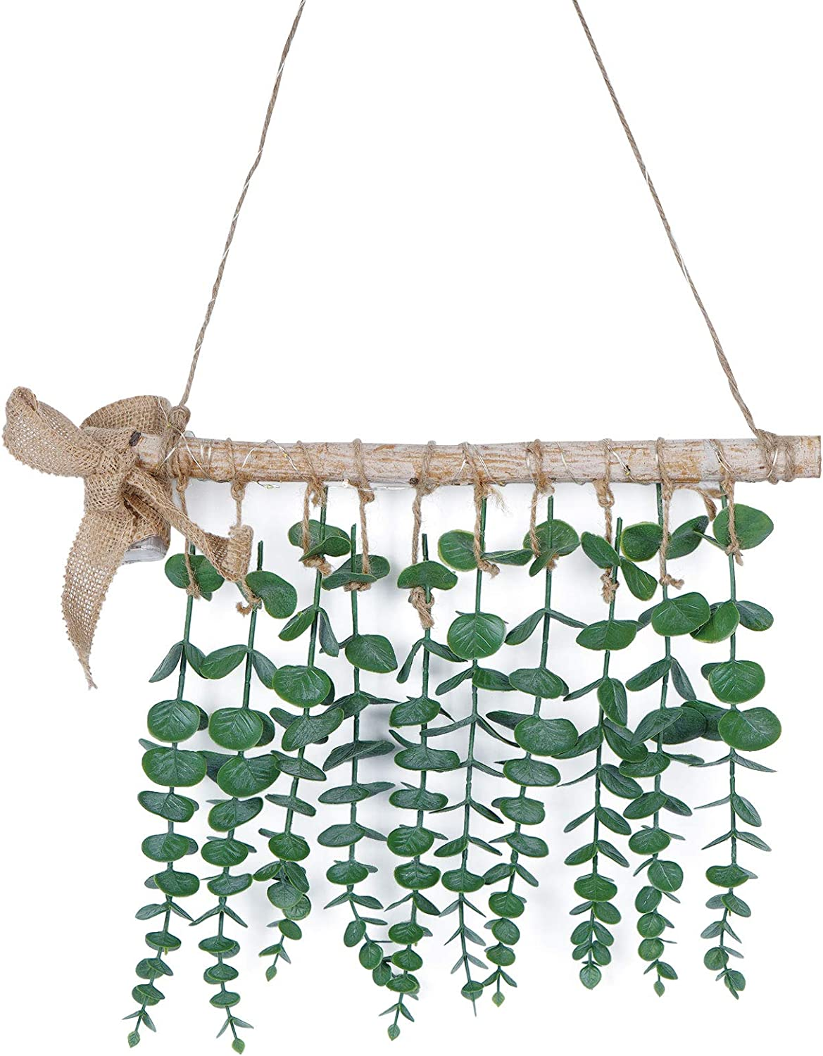Shiny Flower Eucalyptus Hanging Wall Decor, Artificial Eucalyptus Vines and Greenery Wall Hanging Plants Farmhouse Boho Wall Decor for Bedroom, Kitchen, Office and Bathroom