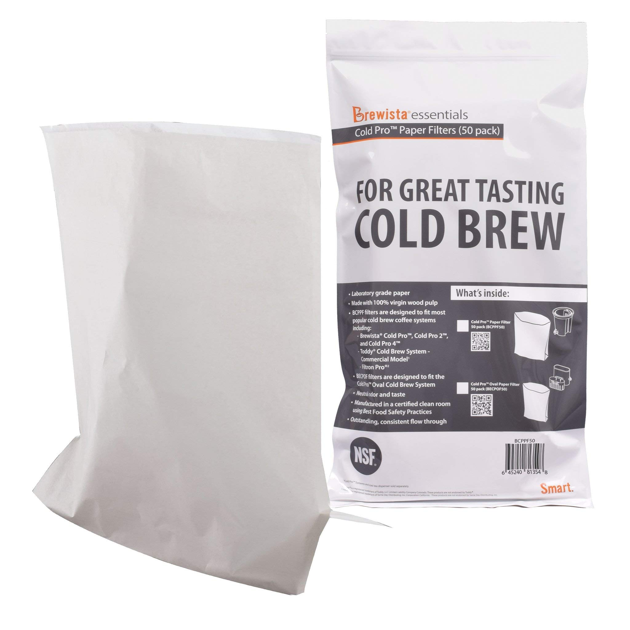 Brewista Cold Pro Original Paper Filter Filter-50 Pack (BCPPF50), Commercial
