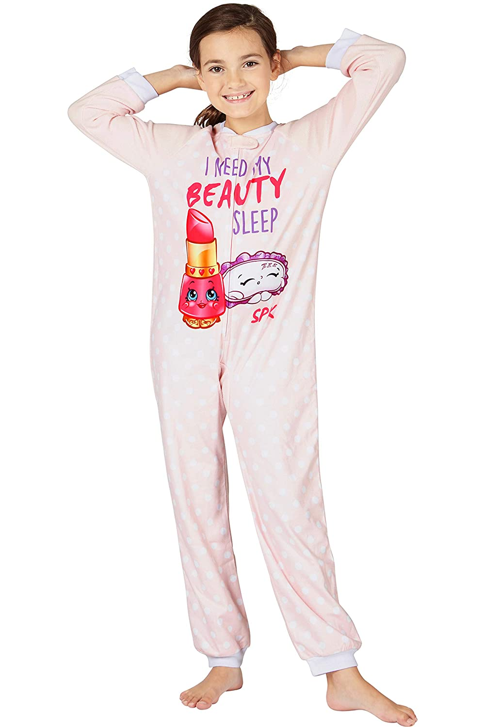 bc412608c2ef Amazon.com  Shopkins  Beauty Sleep  Footless One Piece Pajama Set ...