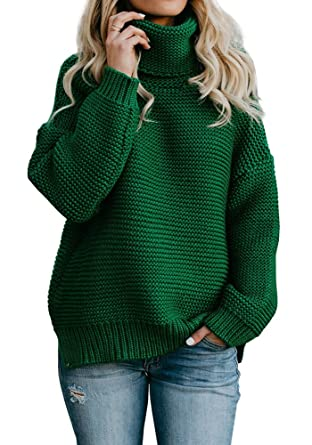 8871ec09bee JOYCHEER Womens Oversized Sweaters Turtleneck Chunky Winter Cable Knit  Jumper Pullover