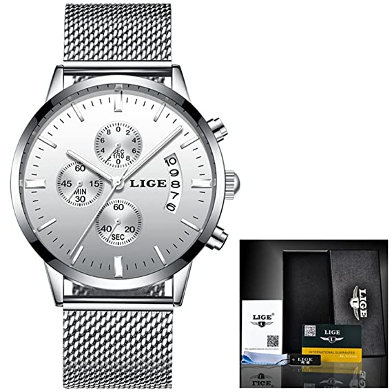 Mens Watches Top Luxury Business Quartz Watch Men Steel Mesh Strap Casual Waterproof Sport Watch Relogio