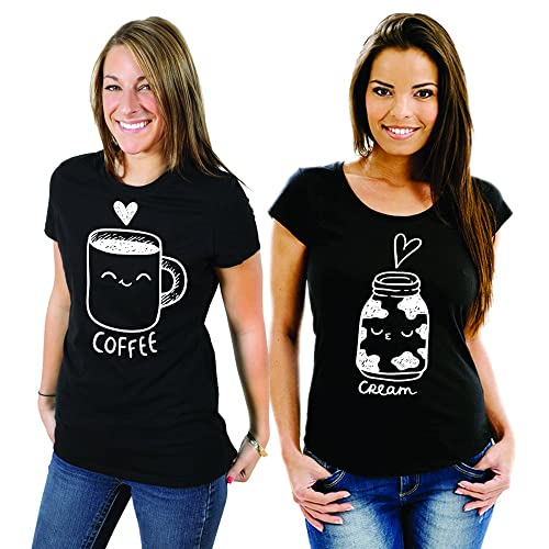 Coppia Di T Shirt Magliette You And Me Best Friend Coffee and Cream