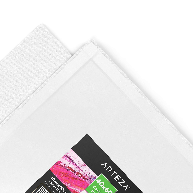 ARTEZA Tela Bianca Per Pittura 80x100 cm per Dipingere Acquerello Ideale sia per Artisti Professionisti che Appassionati Pouring Acrilico Cotone 100% e Imprimitura con Gesso Acrilico Bianco