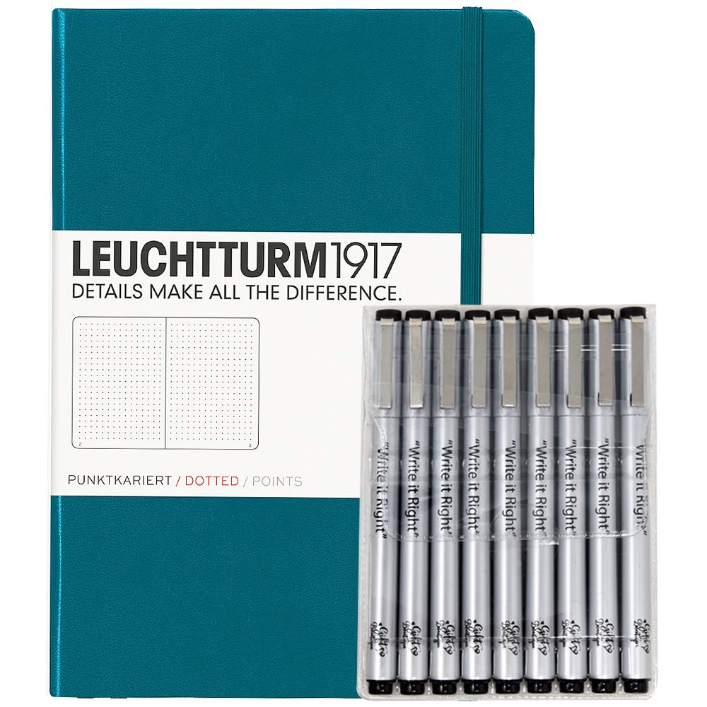 Leuchturm1917 Dotted Journal Medium A5 Bullet Notebook with 9 Pack Black Fineliner Fine Tip and  Brush Journaling Pens Set (Dotted, Pacific Green)