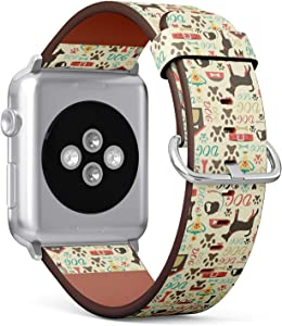 Compatible with Apple Watch 42/44mm (Big) - Replacement Accessory Leather Band Strap Bracelet Wristbands with Adapters (Retro Dog)