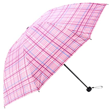 Zxzxzl Paraguas Negro De Plástico Fino Tres Paraguas Paraguas, Rosa