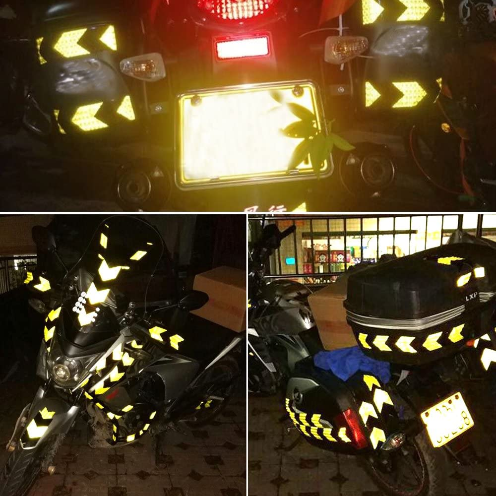 2x196 Muchkey Blue-Black Honeycomb Arrow Sticker reflective tape Reflective Conspicuity Safety Warning lighting Tape Strip for car//trailers//truck//traffic//Construction site 5cmx5m