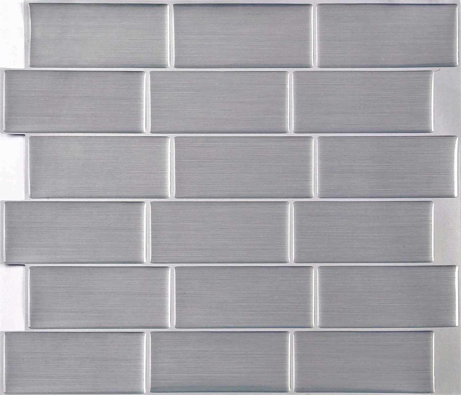 4 Pack of Brushed Steel Effect 3D Gel Mosaic Effect Self-Adhesive Tile Sheets (3D0009) Grand Taps