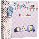 Álbum de fotos Arpan grande para bebés con apartados para notas, espacio para 200 fotos de 15,2 x 10,2cm, diseño con elefantes bebés, ideal para regalo, color rosa